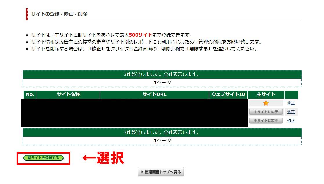 ④:副サイトを登録するを選択