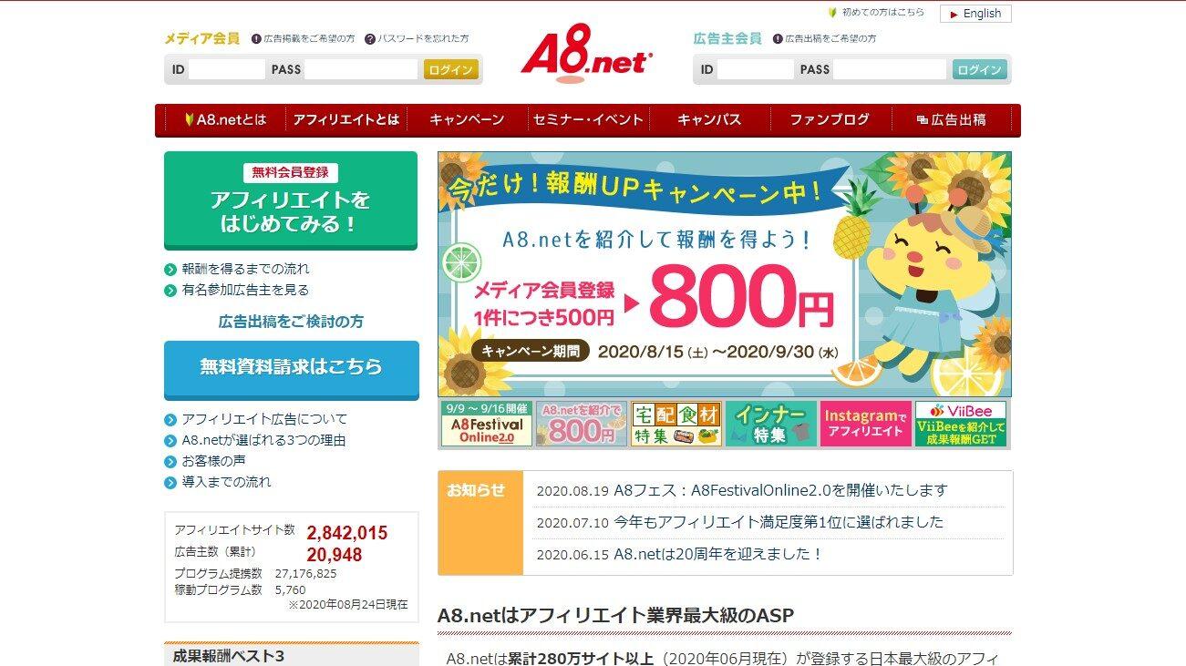 A8.netで複数のサイトを登録する方法